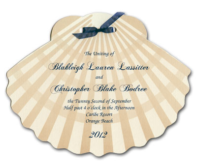 Shell shaped wedding program