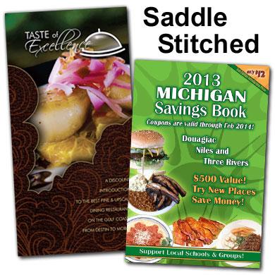 Saddle stitched coupon books