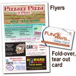 Pizza box flyer and pocket sized coupon book
