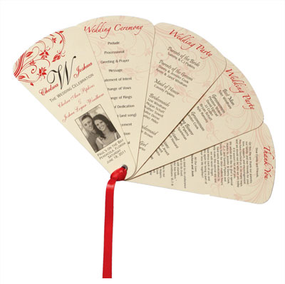5 panel 1 sided wedding fan.